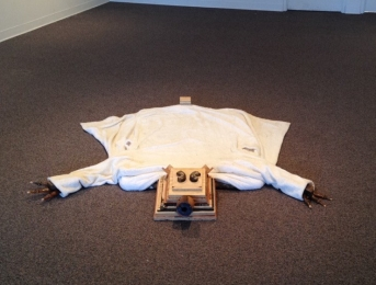Solo Exhibition: Trophy Room. Bear Rug made from found/recycled wood and bathrobe.