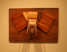 Solo Exhibition: Trophy Room. Elephant made from found/recycled wood.