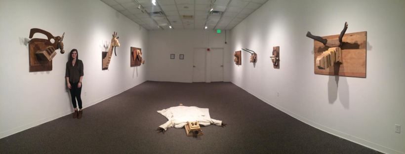 Solo Exhibition: Trophy Room. Bear Rug made from found/recycled wood.