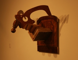 Solo Exhibition: Trophy Room. Ram made from found/recycled wood.
